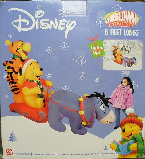 disney eeyore tigger pooh sled christmas airblown inflatable - Disney Christmas Inflatables